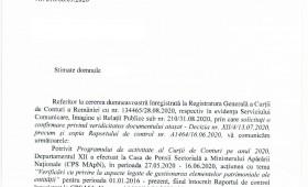 Raportul de control A1464/16.06.2020